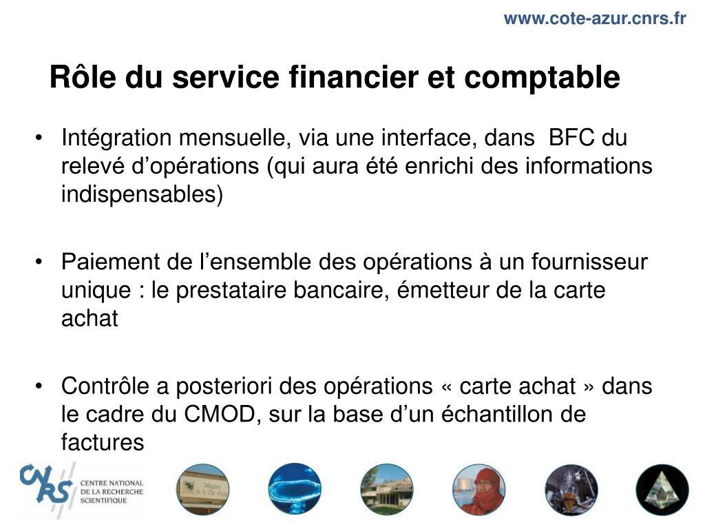 Rôle du service financier et comptable