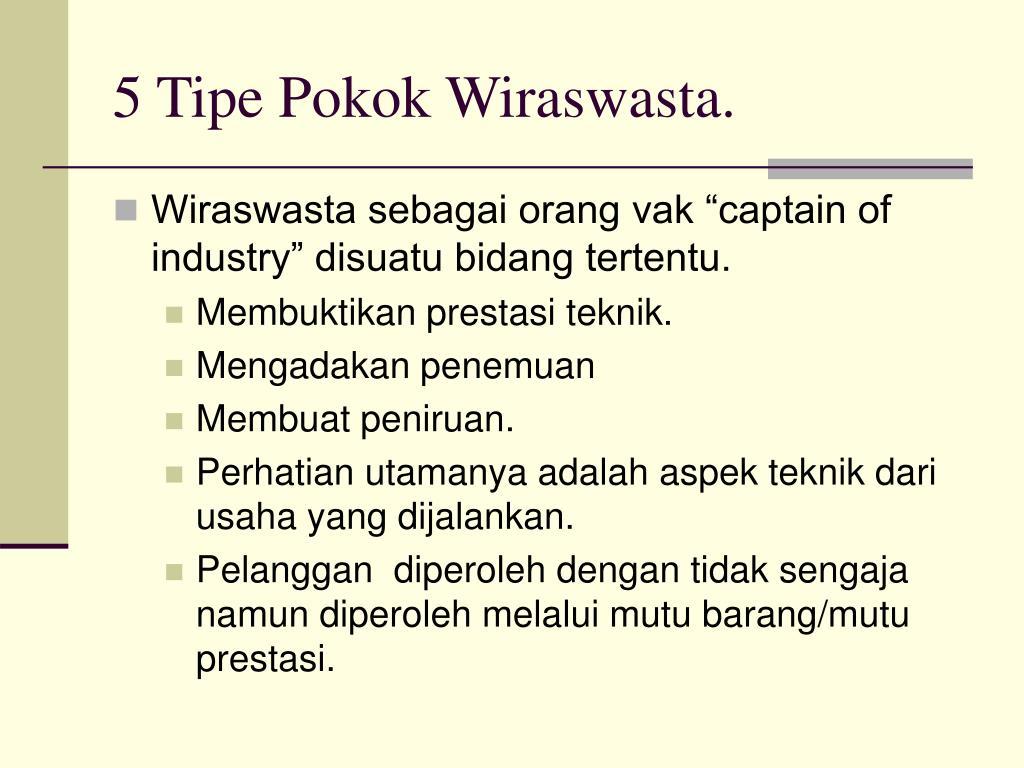 5 Tipe Pokok Wiraswasta.