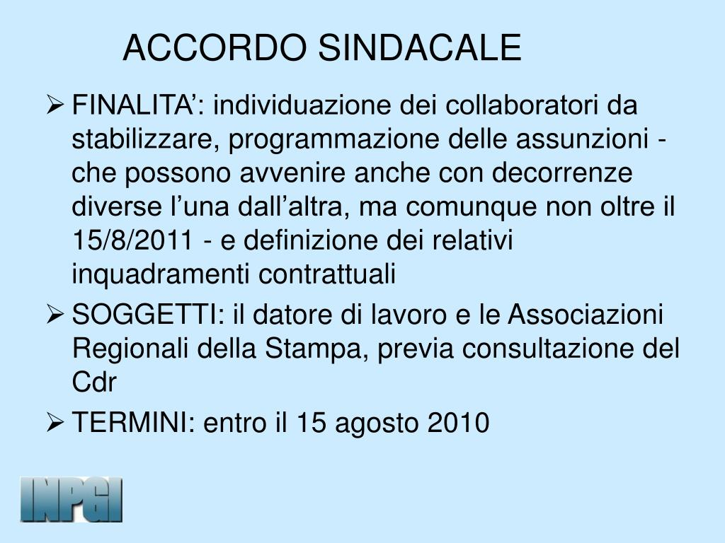 ACCORDO SINDACALE