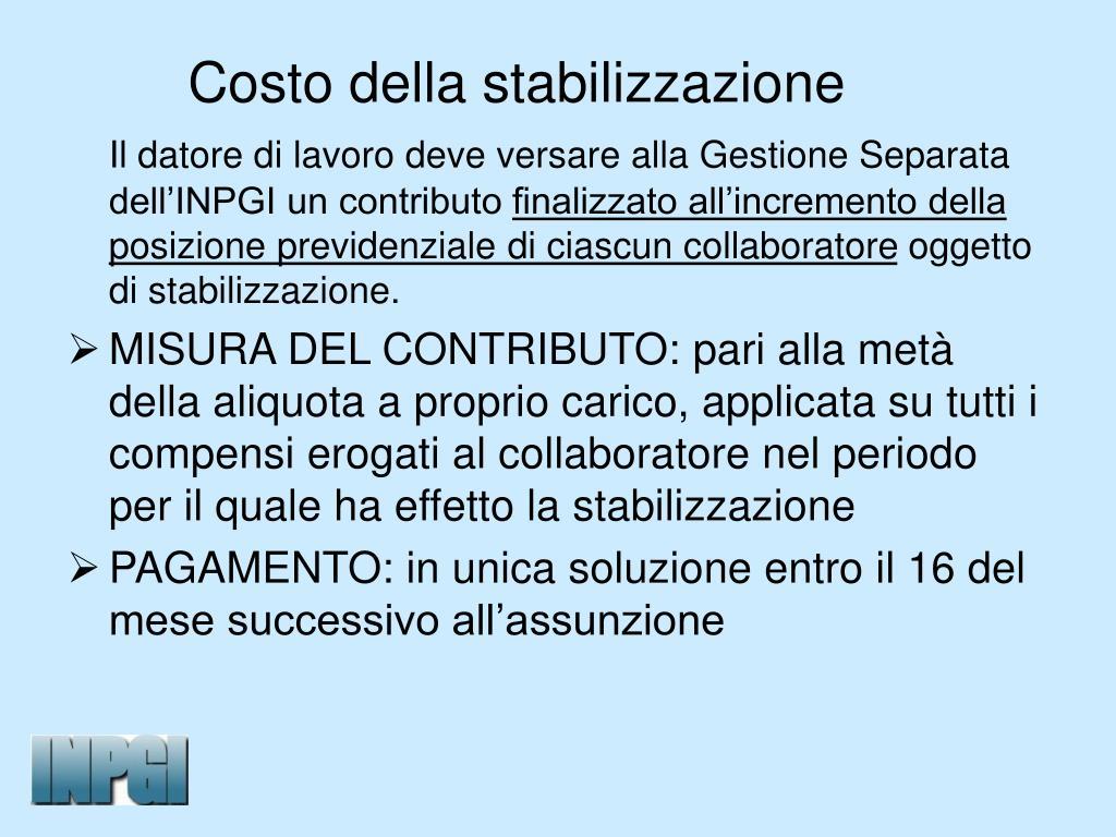 Costo della stabilizzazione