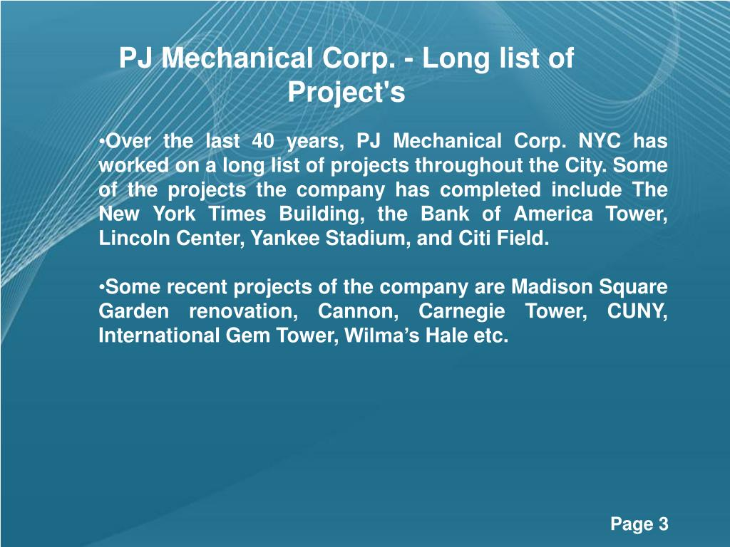 PJ Mechanical Corp. - Long list of  Project's