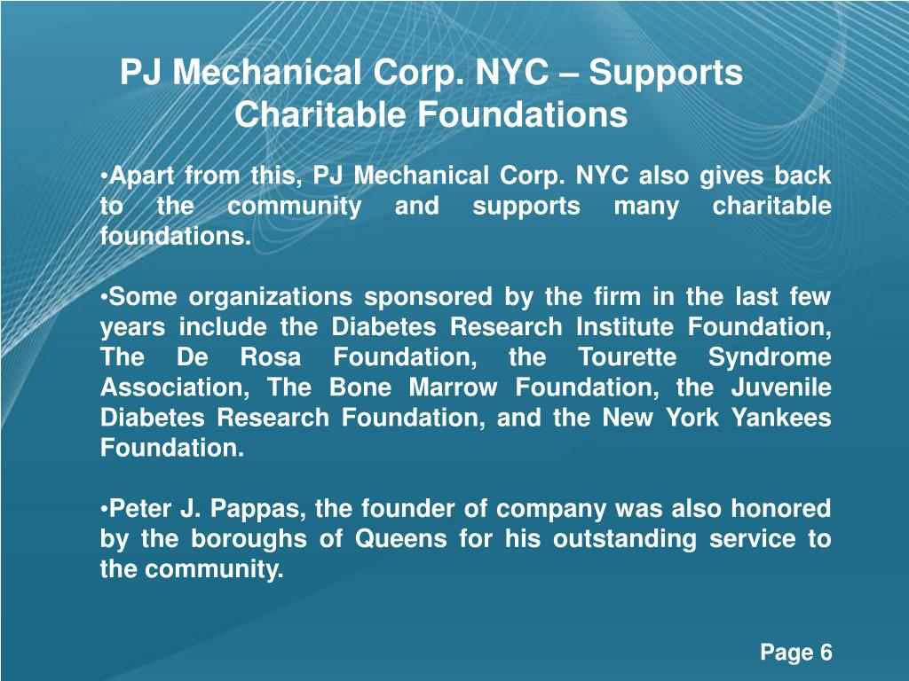 PJ Mechanical Corp. NYC – Supports Charitable Foundations