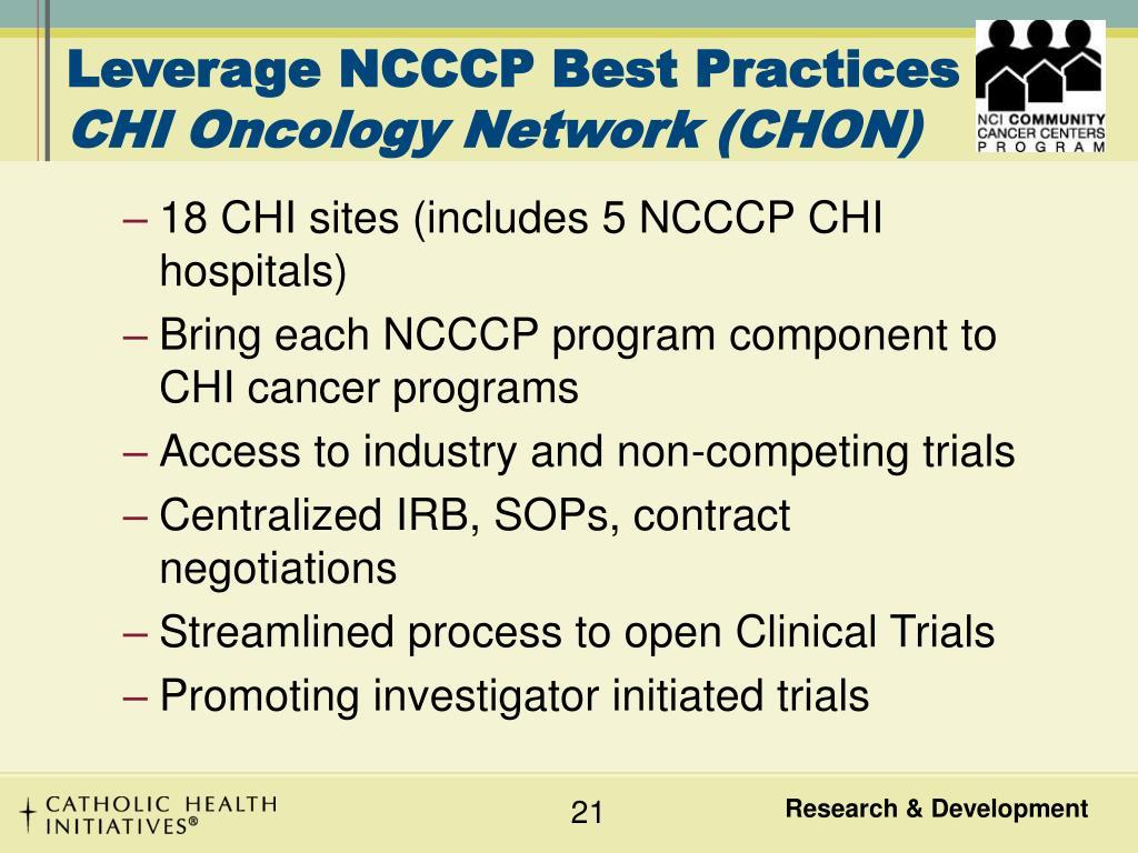 Leverage NCCCP Best Practices