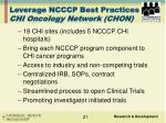 leverage ncccp best practices chi oncology network chon