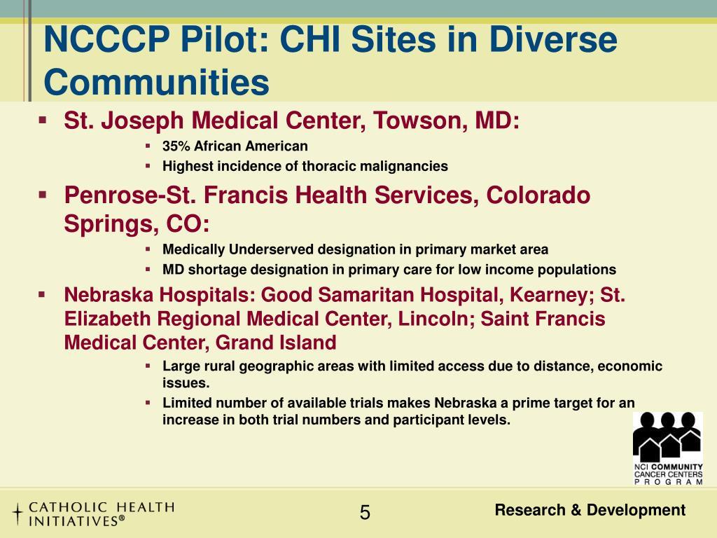 NCCCP Pilot: CHI Sites in Diverse  Communities