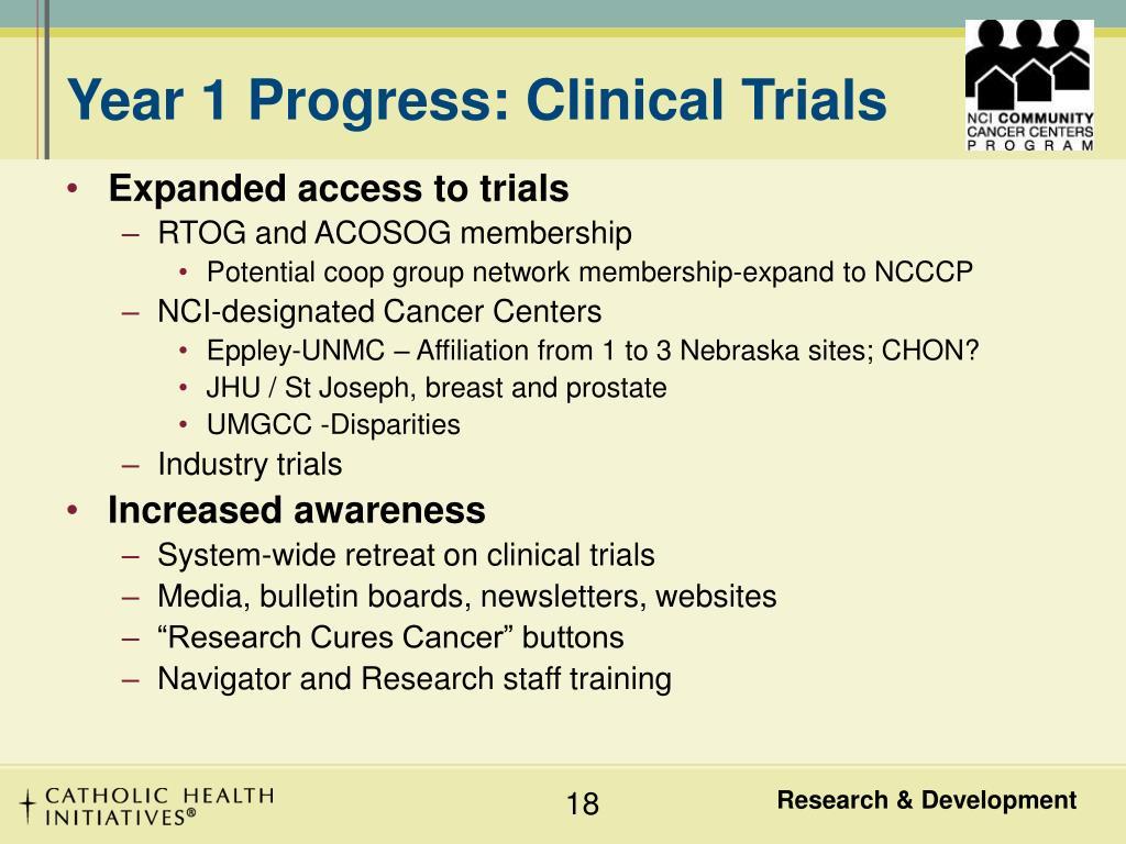 Year 1 Progress: Clinical Trials