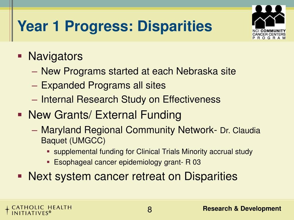 Year 1 Progress: Disparities