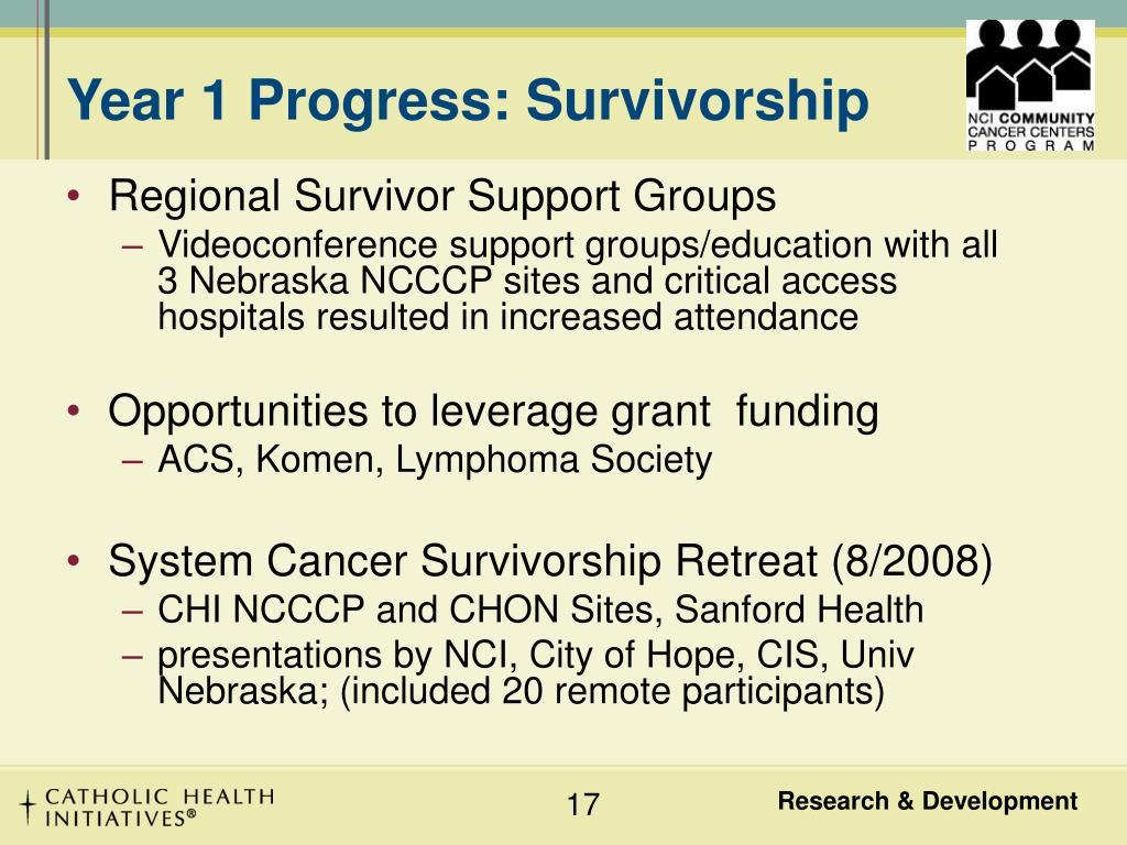 Year 1 Progress: Survivorship