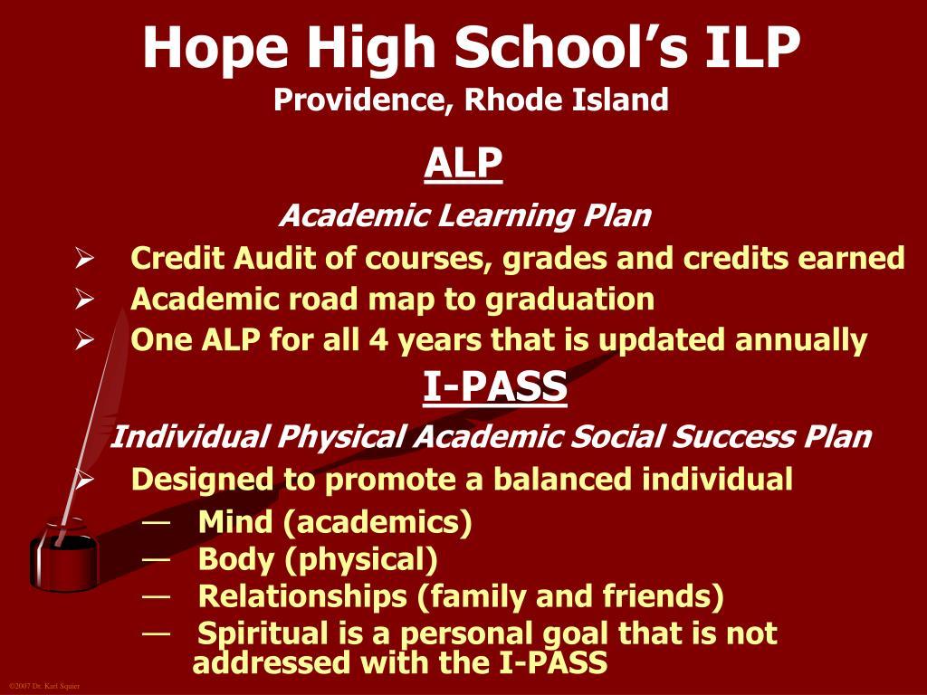 Hope High School's ILP