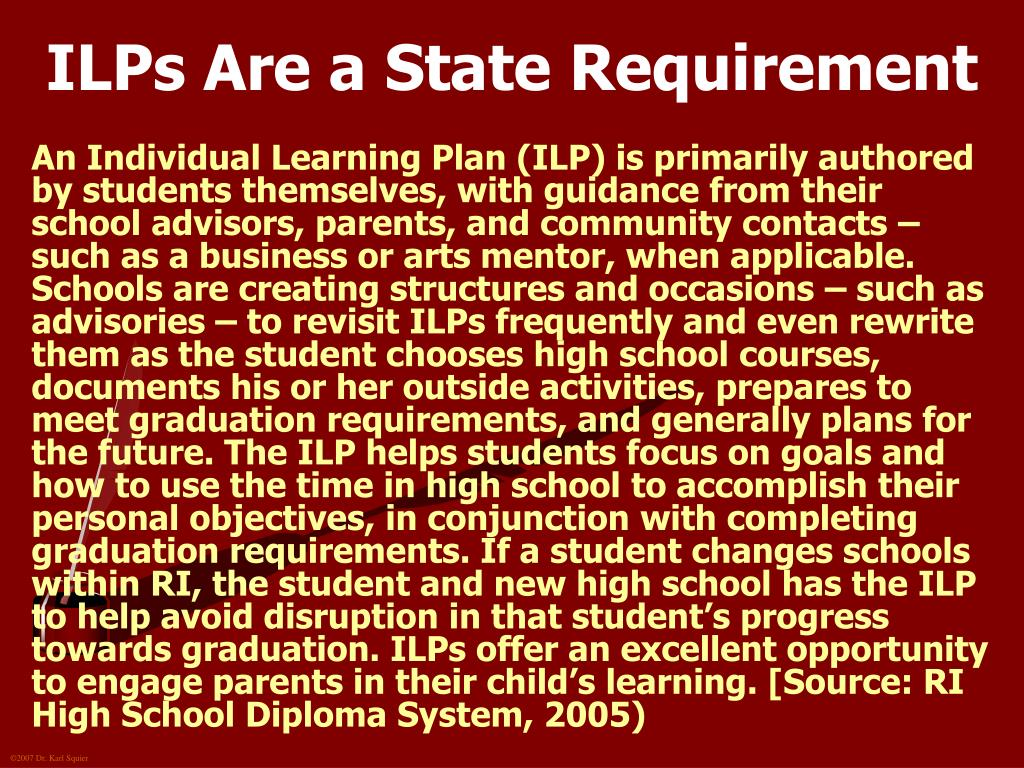 ILPs Are a State Requirement