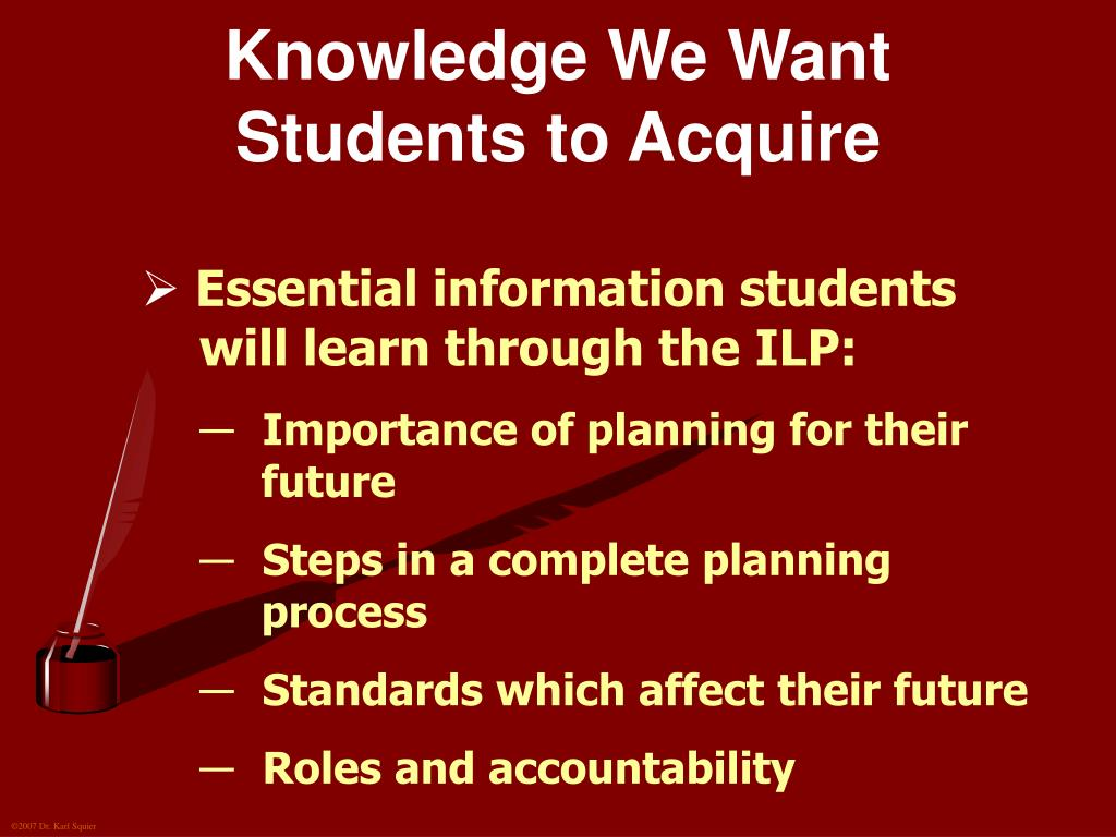 Knowledge We Want Students to Acquire