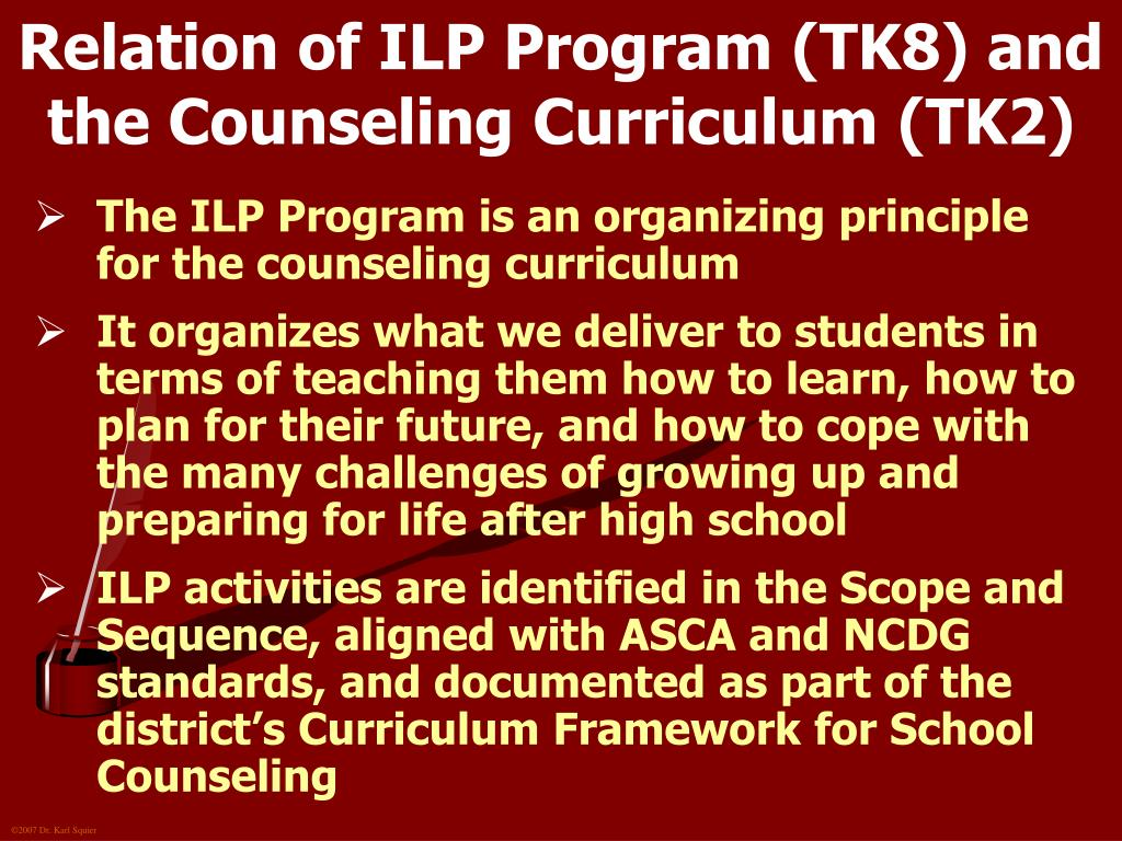 Relation of ILP Program (TK8) and the Counseling Curriculum (TK2)