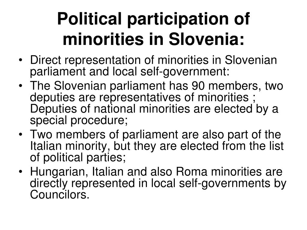 Political participation of minorities in Slovenia: