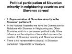 political participation of sloven ian minority in neighboring countries and slovenes abroad