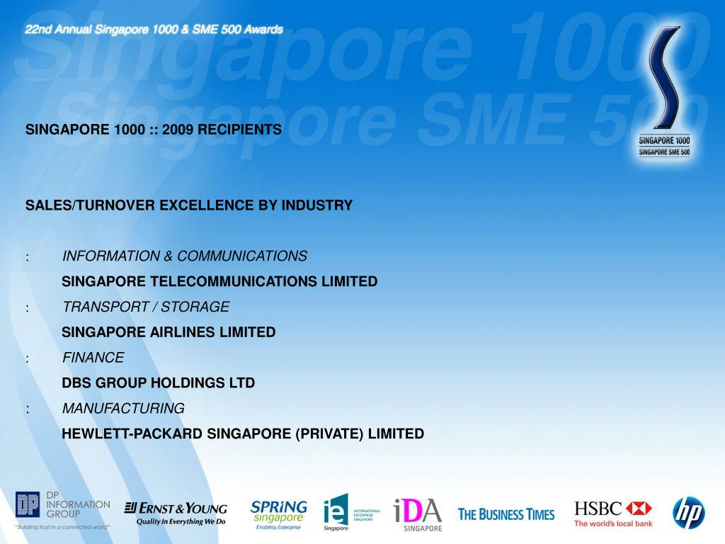 SINGAPORE 1000 :: 2009 RECIPIENTS