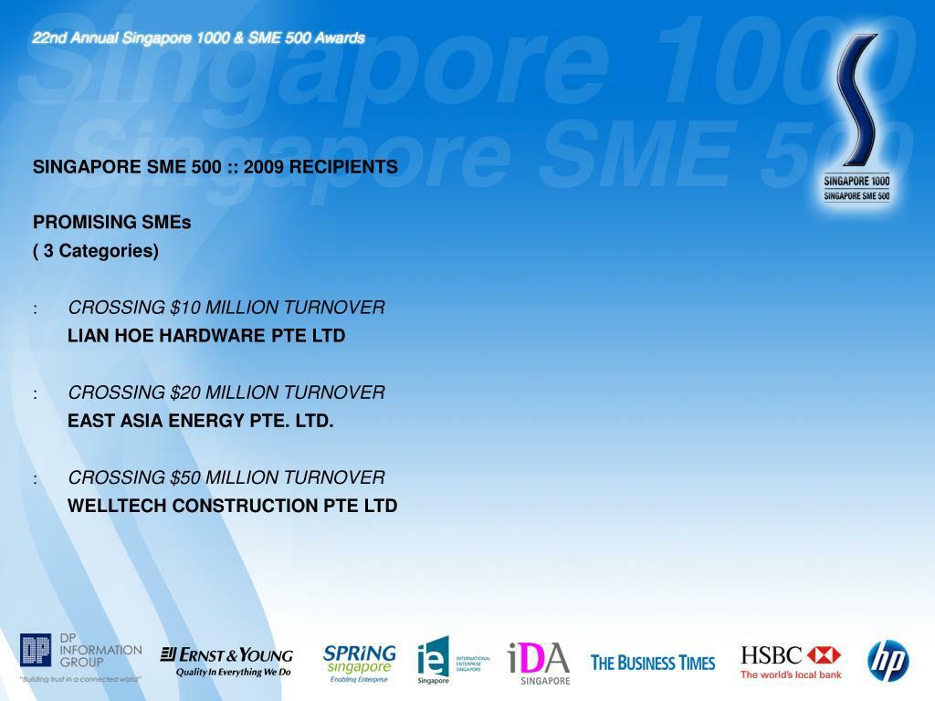 SINGAPORE SME 500 :: 2009 RECIPIENTS