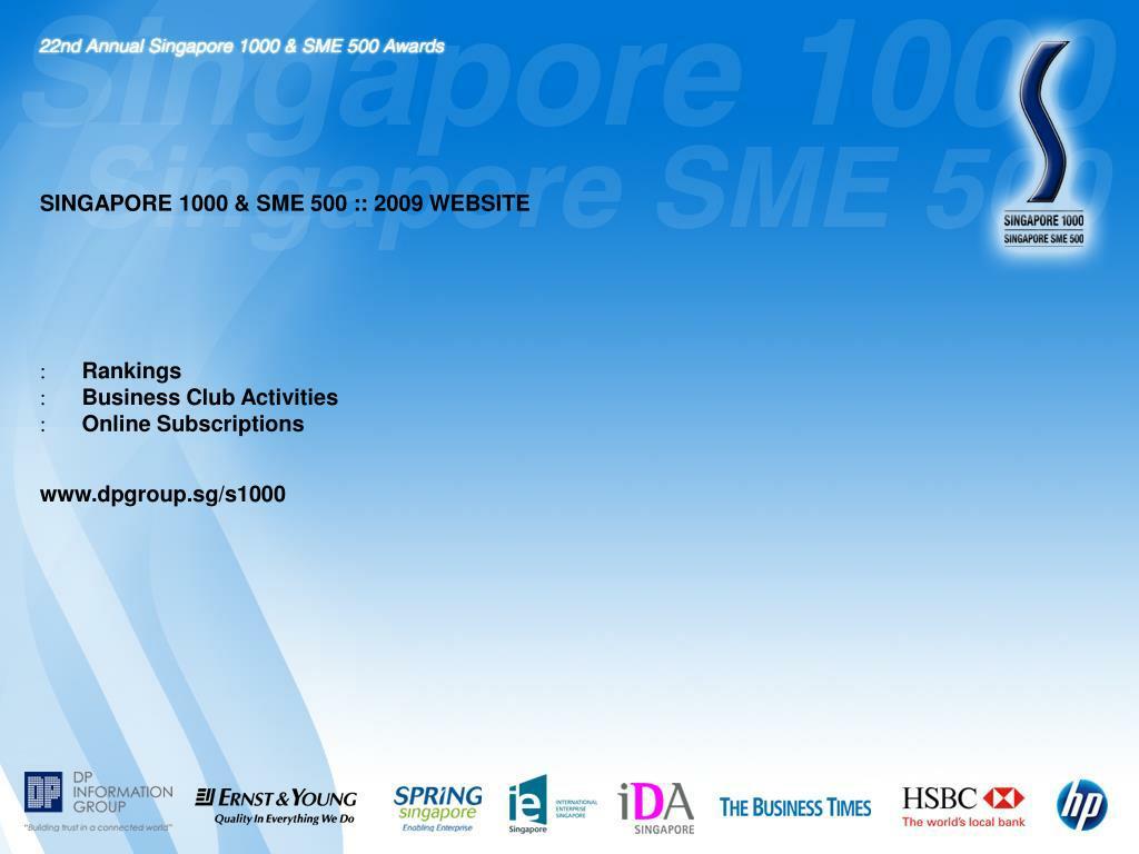 SINGAPORE 1000 & SME 500 :: 2009 WEBSITE
