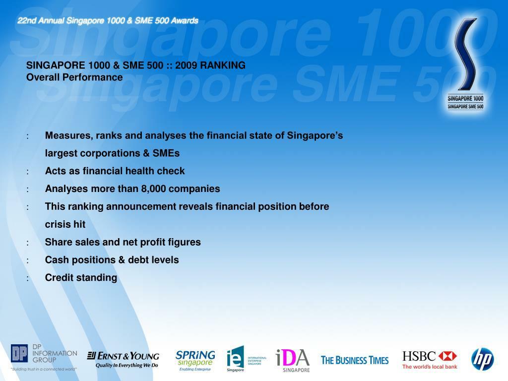 SINGAPORE 1000 & SME 500 :: 2009 RANKING