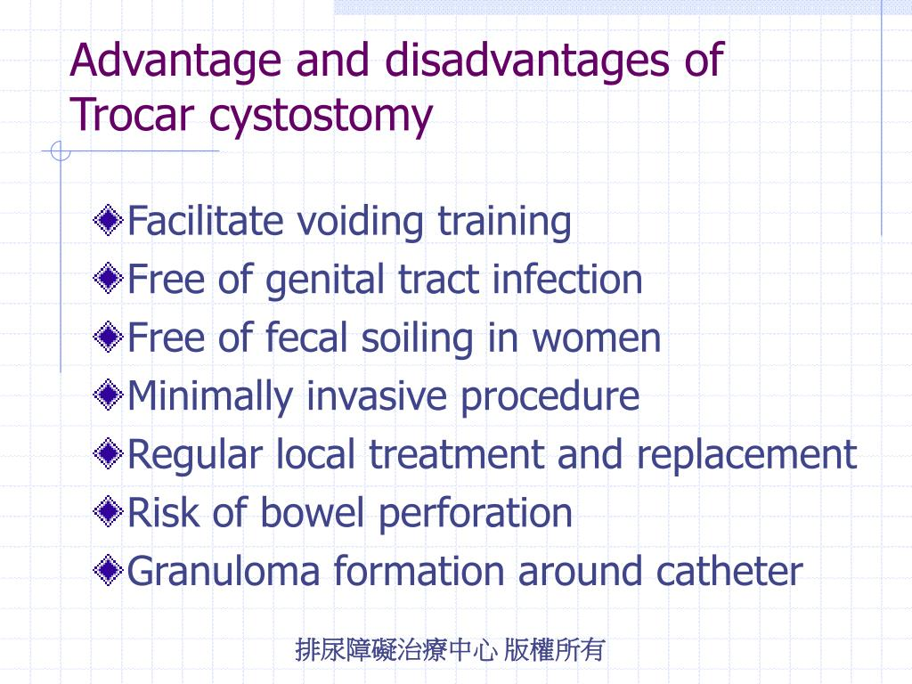 Advantage and disadvantages of Trocar cystostomy