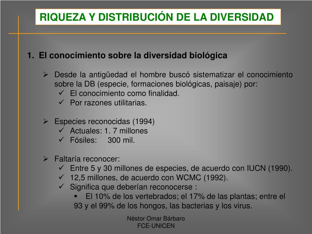 RIQUEZA Y DISTRIBUCIÓN DE LA DIVERSIDAD