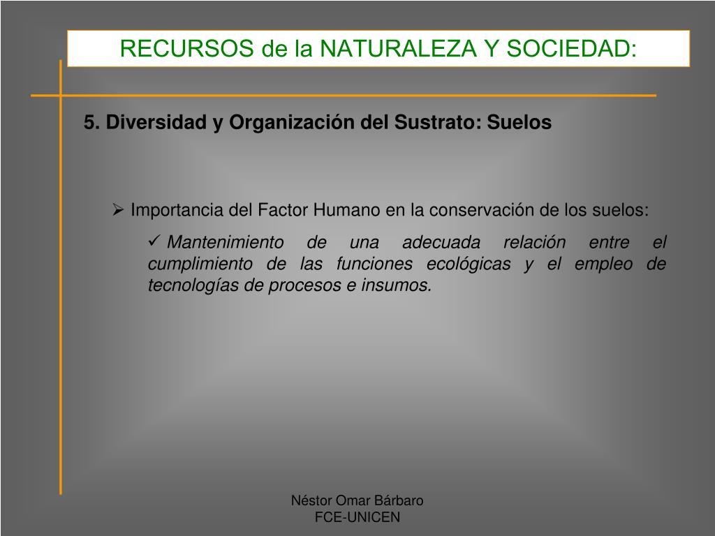 RECURSOS de la NATURALEZA Y SOCIEDAD: