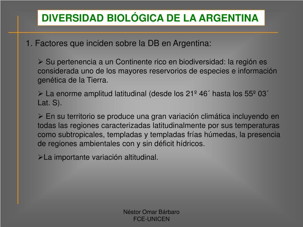 DIVERSIDAD BIOLÓGICA DE LA ARGENTINA