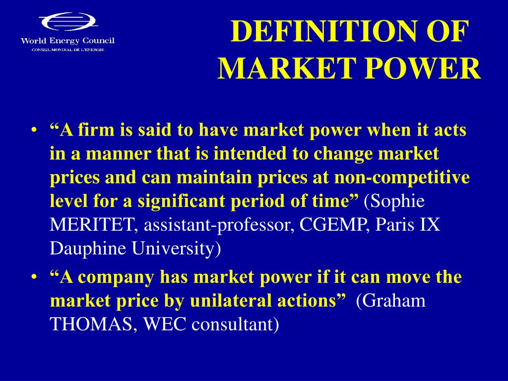 DEFINITION OF MARKET POWER
