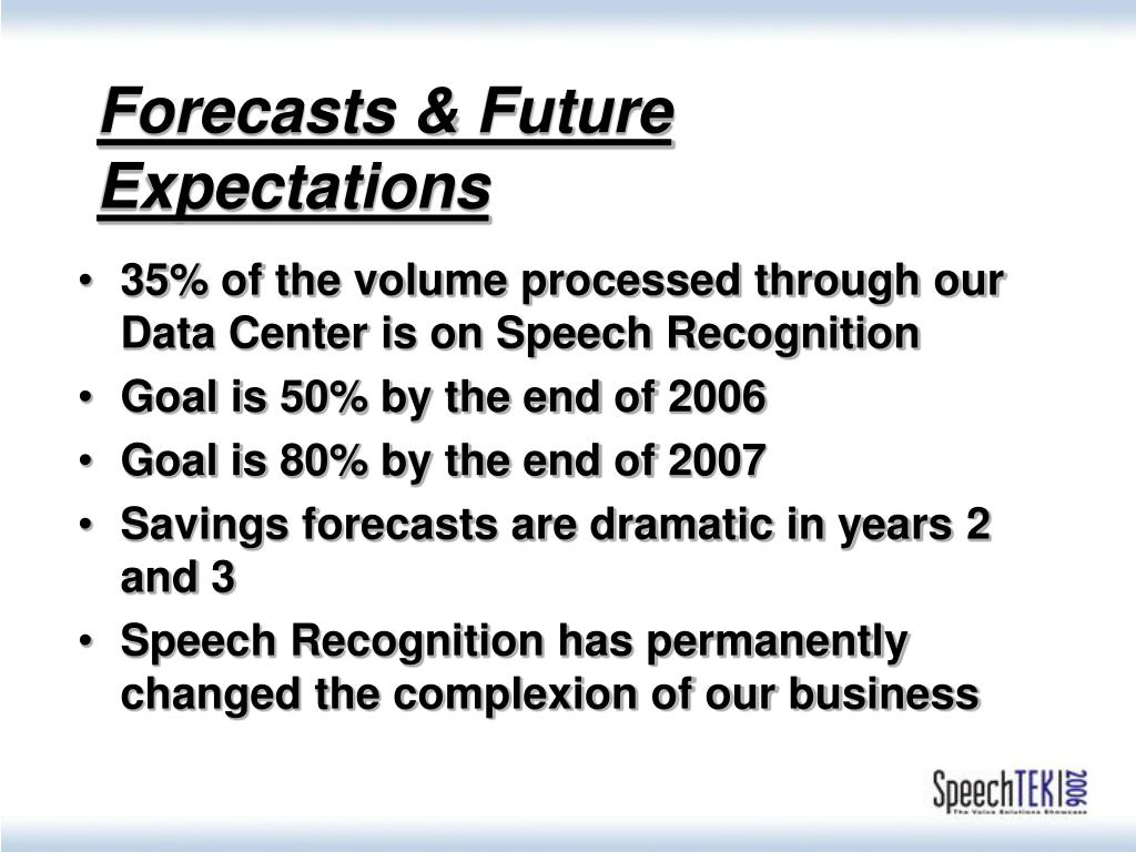 Forecasts & Future Expectations