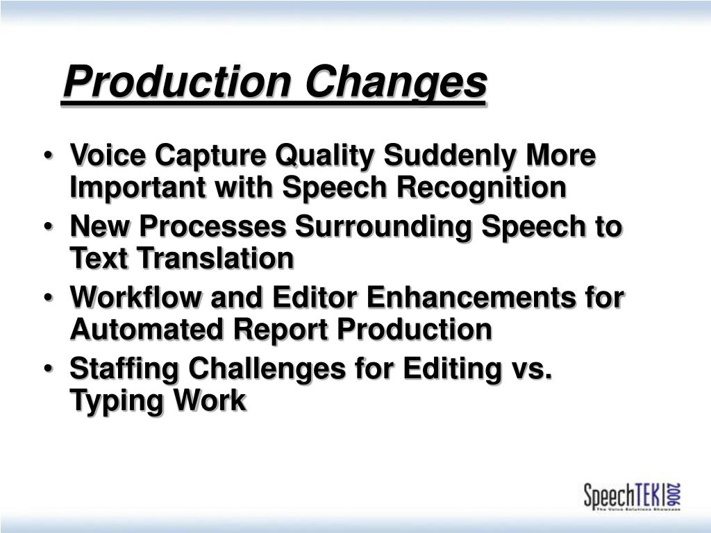 Production Changes