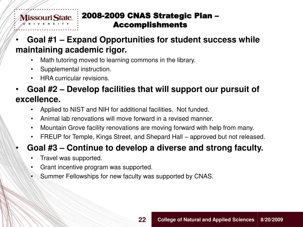 2008-2009 CNAS Strategic Plan –