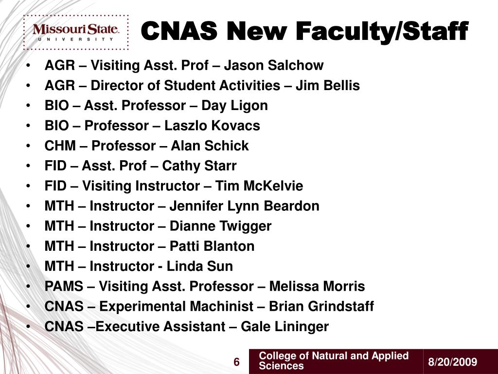 CNAS New Faculty/Staff