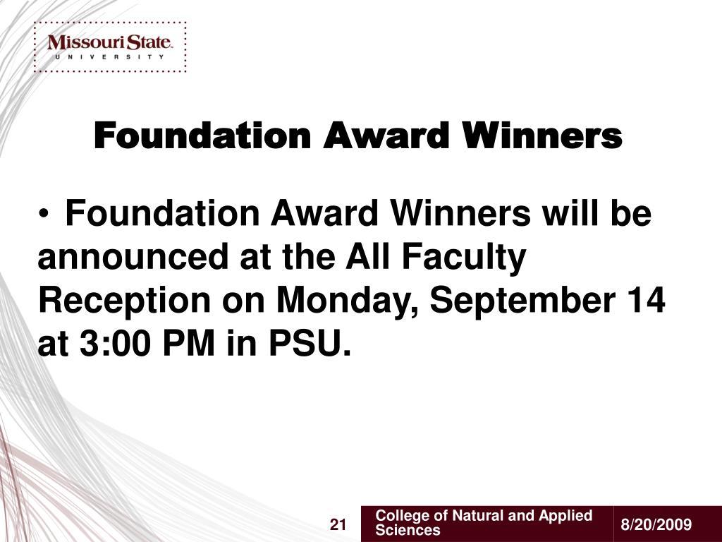 Foundation Award Winners