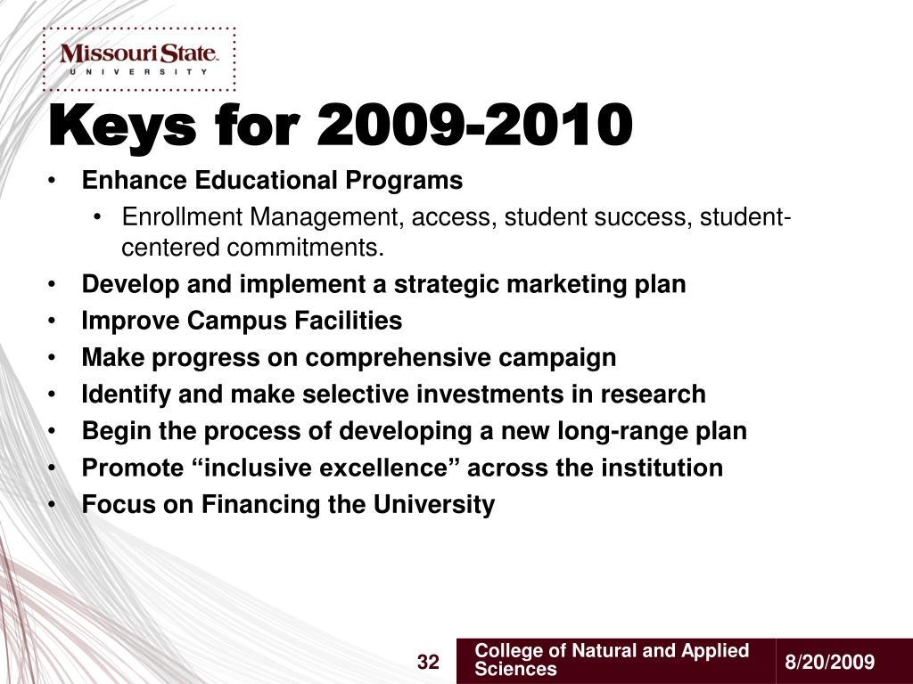 Keys for 2009-2010