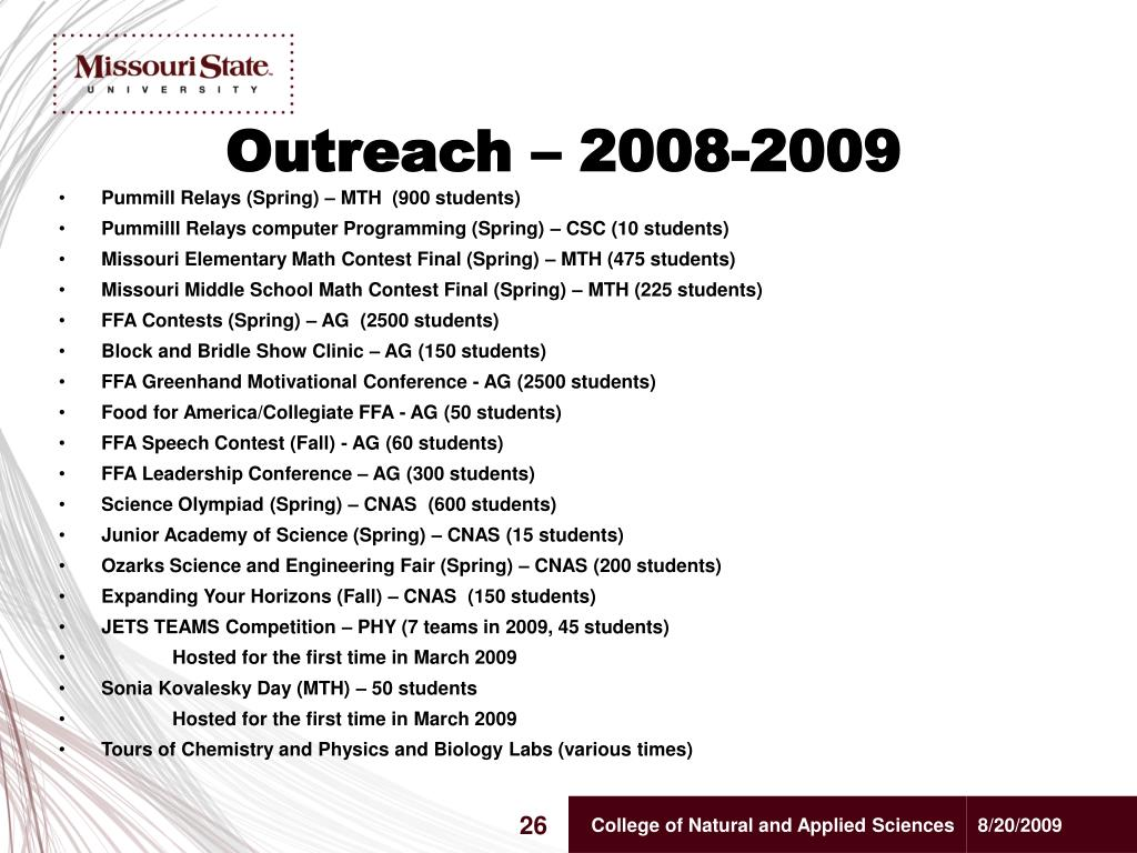 Outreach – 2008-2009
