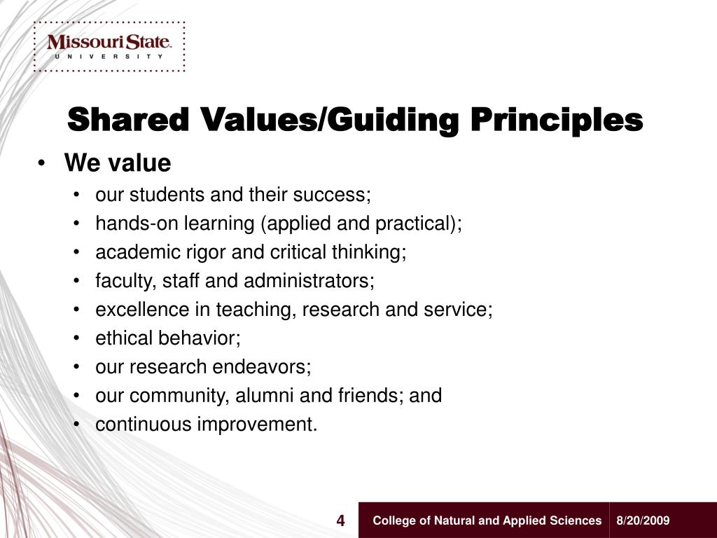Shared Values/Guiding Principles