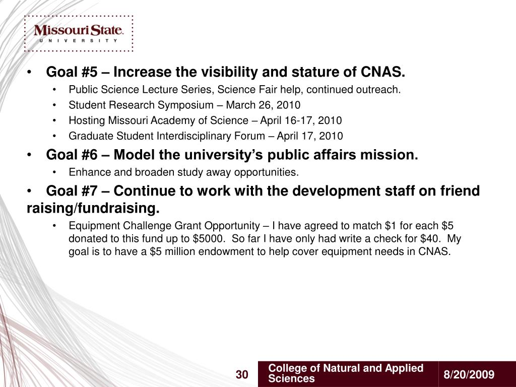 Goal #5 – Increase the visibility and stature of CNAS.