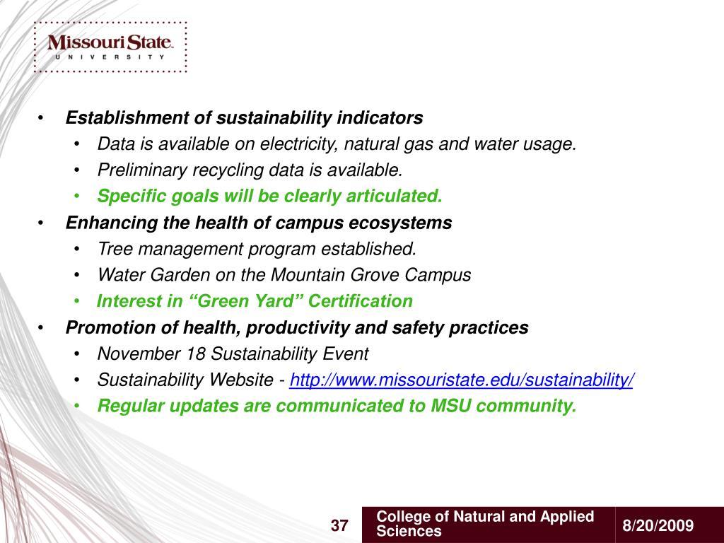 Establishment of sustainability indicators