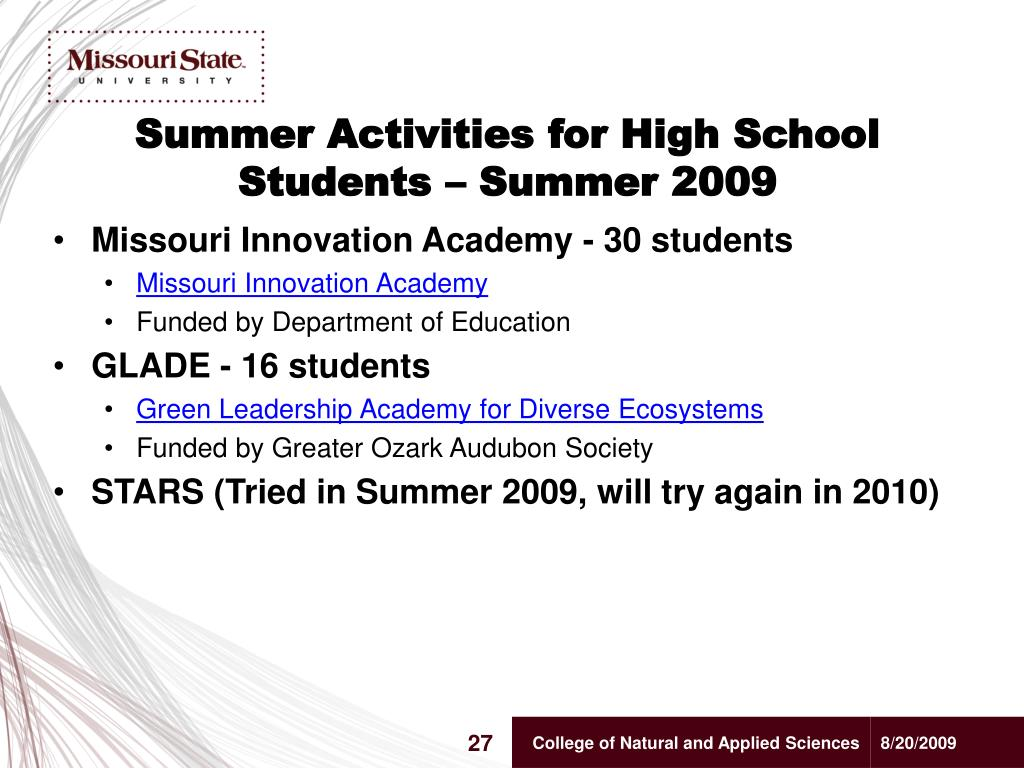 Summer Activities for High School Students – Summer 2009
