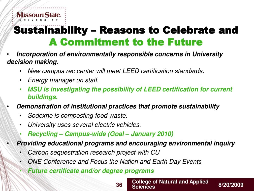 Sustainability – Reasons to Celebrate and