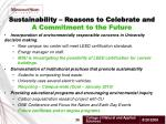 sustainability reasons to celebrate and a commitment to the future