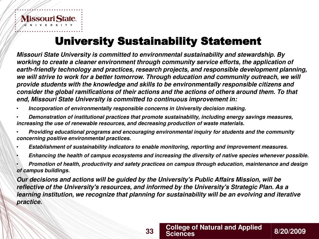 University Sustainability Statement