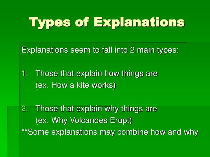 Types of Explanations