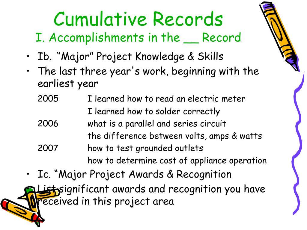 Cumulative Records