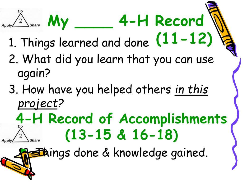 My ____ 4-H Record