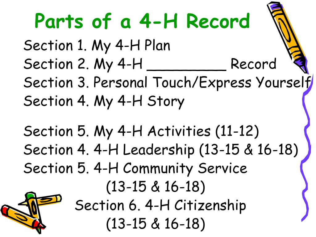 Parts of a 4-H Record