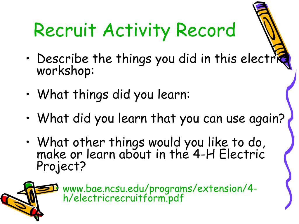 Recruit Activity Record