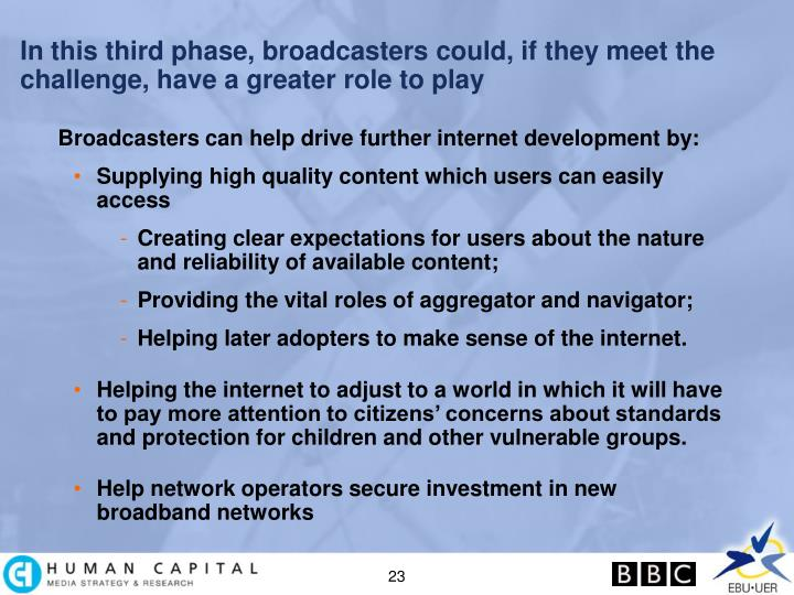 In this third phase, broadcasters could, if they meet the challenge, have a greater role to play