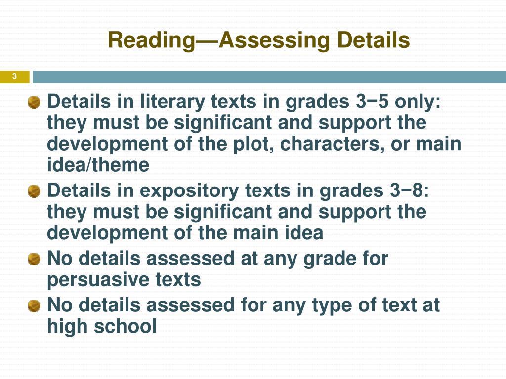 Reading—Assessing Details