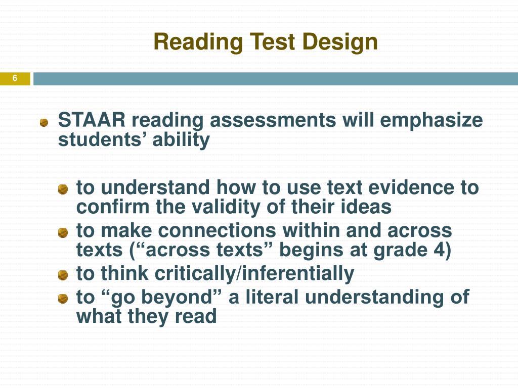 Reading Test Design