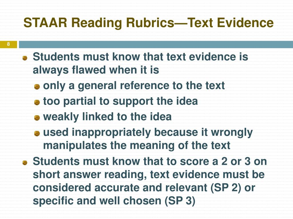 STAAR Reading Rubrics—Text Evidence